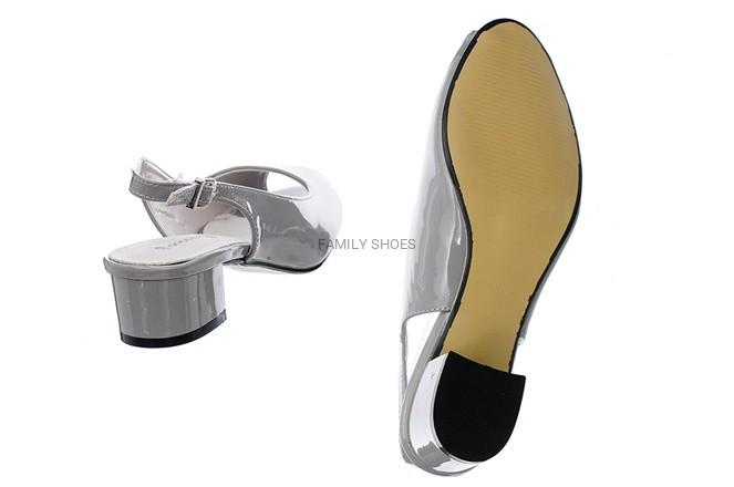 6c68fd600bca8 Pięta Family Słupek Czółenka Szare Shoes Odkryta 1J3TFlKc