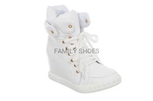 853dedbaa8db2 Sneakersy - białe na koturnie, białe trampki na koturnie, trampki ...