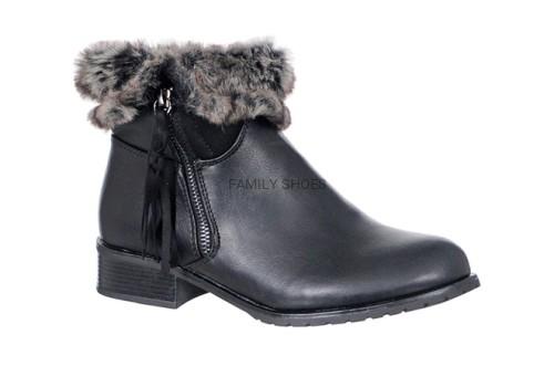 c8850fb8f6070 Zimowe ocieplane botki czarne FAMILY SHOES